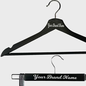 Shirt & Pant Solid Wood Custom Hanger Set - Black